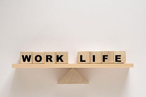 Work Life Balanced on a wood block